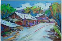 Village - Houses In Byurakan Village - Acrylic On Canvas