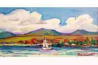 Landscape - Boat On Lake Sevan - Acrylic On Canvas