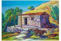 Village - Barn In Orgov Village - Oil On Canvas