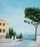 Landscapes - L 048 - On Going To Bikfaya - Lebanon - Available For Sale - Acrylic