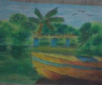 Pagasa Lake - Oil Pastel Paintings - By Kenneth Villamin, Impressionism Painting Artist