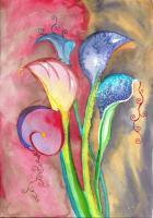 Calla Lilies - Watercolor Paintings - By Angela Nhu, Art Nouveau Painting Artist
