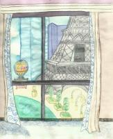 Vegas 1 - Watercolor Colored Pencil Drawings - By Angela Nhu, Whimsical Drawing Artist