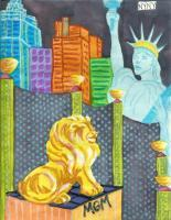 Vegas 3 - Oil Pastel And Watercolor Mixed Media - By Angela Nhu, Whimsical Mixed Media Artist
