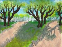 Landscape - Shaded Paths - Tempera