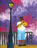 Street Musician - Tempera Paintings - By Angela Nhu, Impressionist Painting Artist