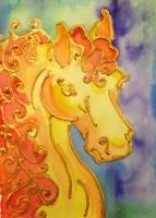 Horses - Golden Horse - Acrylic And Watercolor