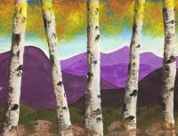 Aspens In The Mountains - Tempera Paintings - By Angela Nhu, Nature Painting Artist