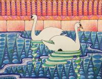Travel - Palma De Mallorca Swans - Gel Pen Colored Pencil And Ink