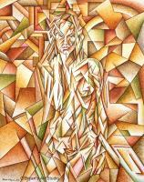 Neo-Cubist Nude - Acrylics Paintings - By Mark Obryan, Neo-Cubist Painting Artist