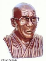 Portrait Busts - Bronze Bust Sculpture Of H H The Dalai Lama - Bronze