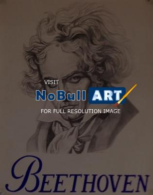 Illustration - Beethoven Drawing - Pencil