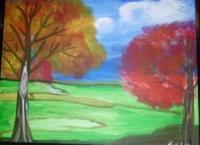 Walk In The Park - Acrylic Painting Paintings - By Tonya Atkins, Landscape Painting Artist