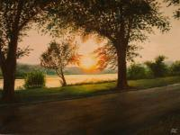 Oil Paintings - The End Of The Day On Riverside - Oil On Canvas