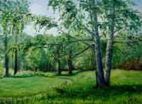Oil Paintings - Birches In Summer - Oil On Canvas