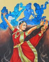 Modern - Bharathanatyam  A Mystic Communion With God - Oil On Canvas
