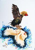 Modern - Cock Fighting - Oil On Canvas