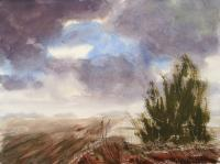 Watercolor Paintings - Cloudy Sky Landscape - Watercolor