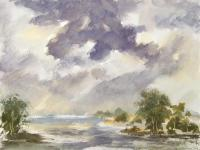 Watercolor Paintings - Rainy Weather Landscape - Watercolor