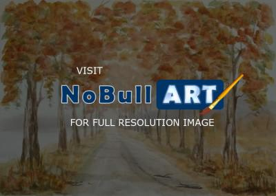 Watercolor Paintings - Autumn Trees Landscape 20 - Watercolor