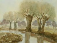 Watercolor Paintings - Old Trees At The Riverside - Watercolor