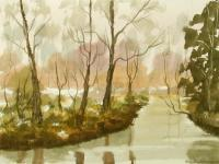 Watercolor Paintings - Autumn At The River 39 - Watercolor