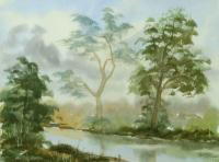 Watercolor Paintings - River With Trees Landscape 40 - Watercolor