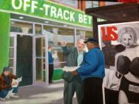 New York City Scenes - Off-Track Betting - Oil On Canvas