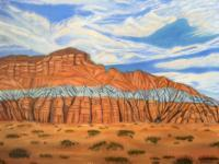 Canyons Buttes  Mountains - Blue Tipped Mesa - Oil On Canvas