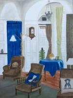 Interiors And Exteriors - Interior With Chairs - Oil On Canvas