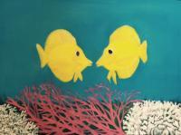 Yellow Tangs - Oil On Canvas Paintings - By Leslie Dannenberg, Realism Painting Artist