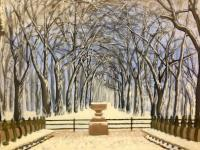 Central Park Winter - Oil On Canvas Paintings - By Leslie Dannenberg, Realism Painting Artist