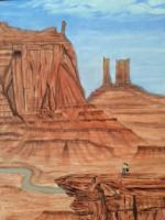 Canyons Buttes  Mountains - Enjoying The View - Oil On Canvas