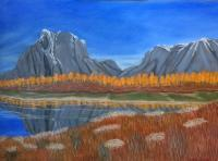 Canyons Buttes  Mountains - Autumn In The Tetons - Oil On Canvas