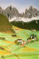 Farm Landscapes - Northern Italy Farm Village At Dolomite Alps - Oil On Canvas