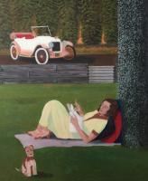 Art Deco Paintings - Sunday In The Park - Oil On Canvas