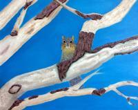 Trees - Oak Branches With Fox Squirrel - Oil On Canvas