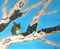 Trees - Squirrel On Stripped Oak Tree Branch - Oil On Canvas