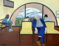 Interiors And Exteriors - The Waiting Room - Oil On Canvas