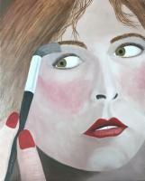 People - Applying Make Up - Oil On Canvas