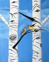 Western Tanager Pair - Oil On Canvas Paintings - By Leslie Dannenberg, Realism Painting Artist
