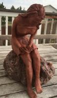 Seeking Guidance - Terra-Cotta Claylava Rock Sculptures - By Suzanne Burke, Hand Sculpted Sculpture Artist