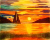 Pastels - Sunset On The Water - Soft Pastel