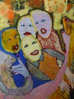 Good Friends - Oil And Plastic On Canvas Paintings - By Dahn Midora, Original Painting Artist