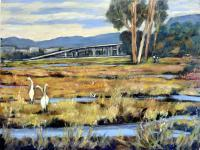 California Paintings - Marshes At Pt Isabel Looking Towards I-80 - Acrylic