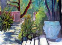 Blake Gardens At The University Of California At  Berkeley - Acrylic On Paper Paintings - By Juliet Mevi, Plein Air  Realism Painting Artist