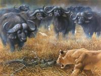 The Fight Of The Big Ones - Oil On Canvas Paintings - By Simba   Robert Makoni, Oils Painting Artist