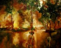Landscape - Swamp Fire - Oil