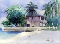 Landscape - Beach House - Nassau Bahamas - Watercolor