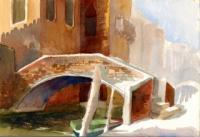 Landscape - Brick Bridge - Venice Italy - Watercolor